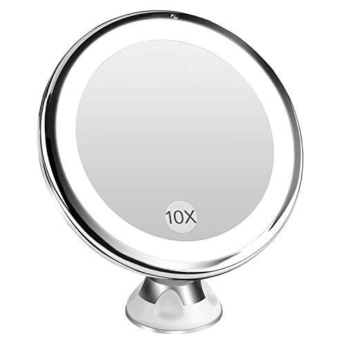 BESTOPE Kosmetikspiegel 10X Make-up Spiegel, Beleuchtet Schminkspiegel mit 10x Vergrößerung und Saugnapf, 360°Schwenkumdrehung Badspiegel, dimmbare Beleuchtung, batteriebetrieben(Weiß)