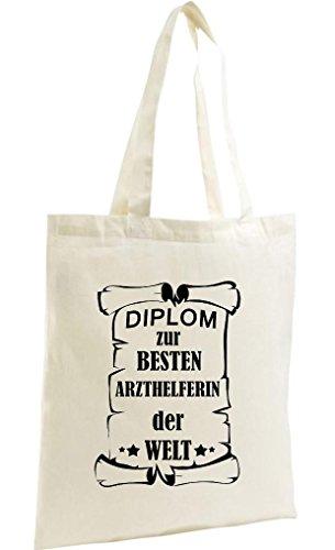 Shirtstown Shopping Bag Organic Zen, Shopper zur besten Arzthelferin der Welt, Natur