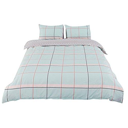 uxcell Bettbezug Set, 100% Baumwolle Bettbezug Bettwäsche für Jugendliche Erwachsene, Einfach Moderne Streifen Gitter Muster Gedruckt auf Grau Blau mit Reißverschluss King Size Green Plaid Pattern
