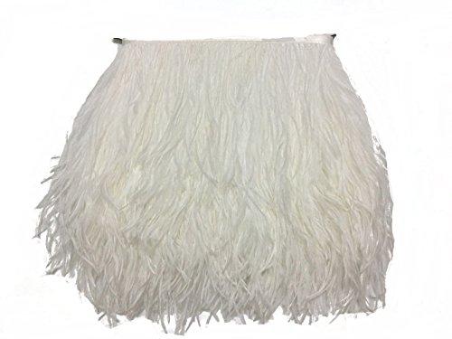 raußenfedern, natürlich, ca. 10-15 cm, Fransenborte für selbstgemachtes Kleid, zum Nähen, Basteln, für Kostüme, Dekoration, Packung mit 1,8 m weiß ()