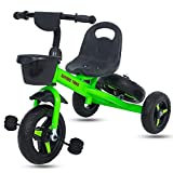 #5: Baybee Yarish Baby Tricycle Kid's Trike with Parental Adjust Push Handle Children Tricycle/Bicycle with Spare Wheel Kid's Ride on Outdoor | Suitable for Boys & Girls - (1 to 5 Years)- Green
