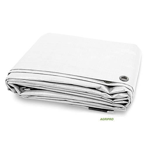 AGRIPRO Tela PVC Lona Ojal Cubierta Impermeable Exteriores Blanco Multiusos Ultra