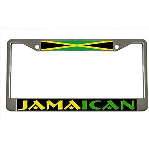 JAMAICA Chrome Metal Auto License Plate Frame Car Tag Holder by New Custom Auto Tag