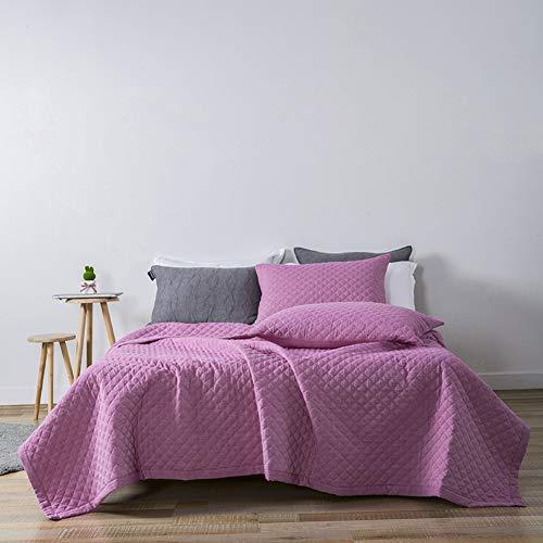 Reversible Tagesdecke Bett, Einfarbig 3 Stück Gesteppter Bettüberwurf Geprägt Tagesdecke Mit 2 Kissen Shams Gewaschener Baumwolle-g 200x230cm -