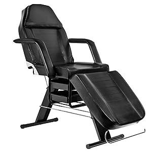 Activeshop Kosmetikliege Massageliege Massagetisch Massagestuhl 202 Schwarz bis 180 kg belastbar Premium-PU-Leder mit Aufbewahrungsladen 180 x 63 x 74 cm (L x W x H)