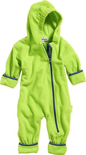 Playshoes Unisex Baby Fleece-Overall Farblich Abgesetzt, Grün (Grün 29), 80