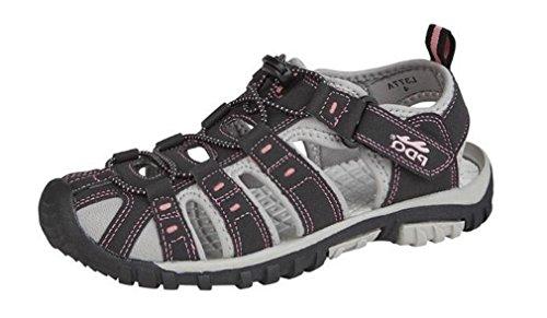 Donna Bottone e chiusura in velcro leggero comodo incluse Walking Sports Trail sandali Black/pink
