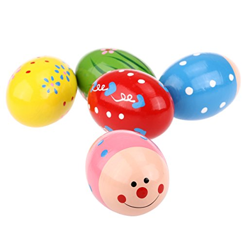 NUOLUX uovo di legno Maracas Shakers musica percussioni giocattolo per bambini 5pcs (colore casuale)
