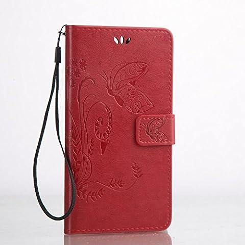 Cozy Hut Custodia portafoglio / wallet / libro in pelle per Huawei P9 Plus Custodia in Pelle Stampata Morbida PU Case Cover - Cover elegante e di alta qualità,Funzione di sostegno Stand,con la copertura del raccoglitore per la Carte - Progettazione fiore e la farfalla sollievo per Huawei P9 Plus - Big Red