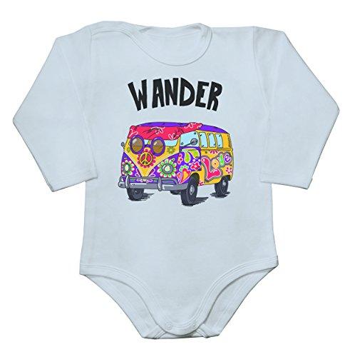 Wander Hippie Van With A Peace Sign Baby Bodysuit Mameluco largo de la manga del bebé Medium