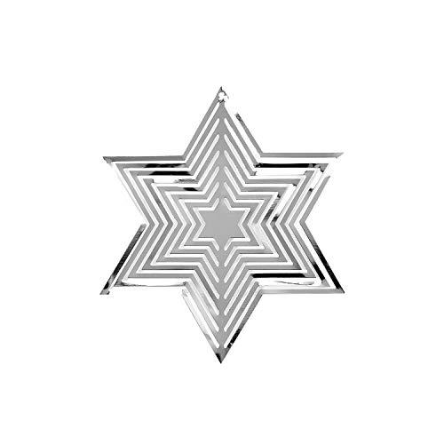 Oblique Unique® Weihnachtsstern 3D Stern Anhänger aus Metall mit Spiegeleffekt glänzend Hängedeko für Weihnachten Weihnachtsdeko Christbaumschmuck Weihnachtsbaum Deko (Silber)