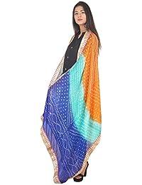 Khatushyam Creations Women Silk Bandhani Dupatta With Gota Patti Border (Multicolor_2.5 Meter)