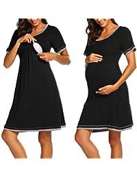 c4367811f1aed MAXMODA Umstandsnachthemd Stillnachthemd Kurzarm Nachthemden für Schwangere  und Stillzeit
