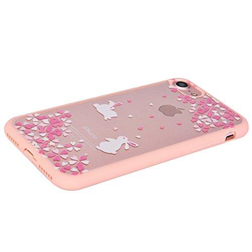 "Für Apple iphone 7 Plus 5.5"", Yokata PC Hart Case mit Weich Pink Silikon Bumper Hülle Rosa Baum Motif Schale Transparent Durchsichtig Dünn Case Schutzhülle Protective Cover Hase"