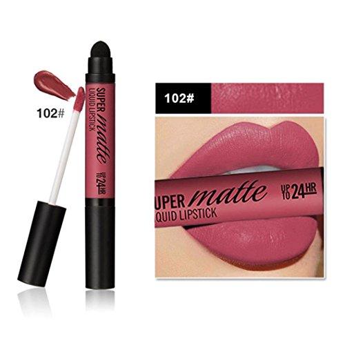 Rouge à Lèvres Imperméable Dur Durable Professionnelle de Matt-double Extrémité + tête D'éponge (102#)