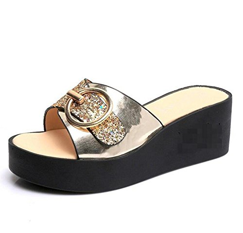 LDMB Frauen-Sommer-römischen Stil One Schriftart-Sequins Anti-Rutsch-atmungsaktive Pantoffeln Flip-Flops Strand-Schuhe Sandale Gold