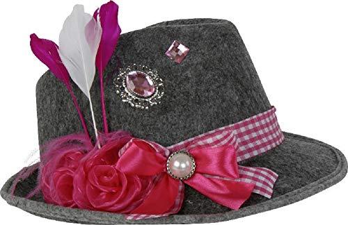 Home Collection Filzhut Oktoberfest Damen Hut rosa pink Bayern mit Feder Schleife Brosche und Blume Filz Biergarten Party Wiesn L:30xB:26xH:11cm