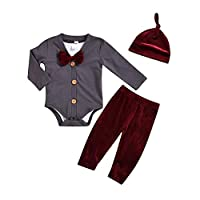 Hongyuangl 3 Pieces Baby Boy Clothes Sets Long Sleeve Romper Cardigan with Gentleman Bowtie and Pants and Cap