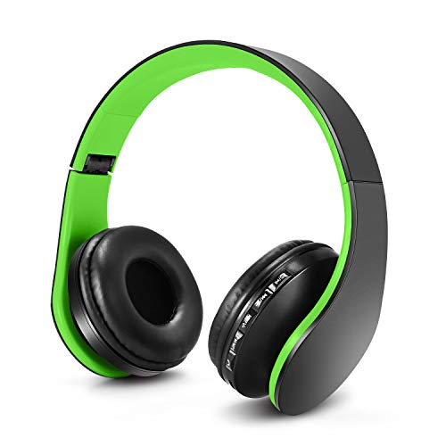 ZAPIG Premium Kinderkopfhörer, Bluetooth Kopfhörer für Kinder mit Gehörschutz, Leichte Kinder Kopfhörer mit Faltbare Kopfband, Grün-Schwarz