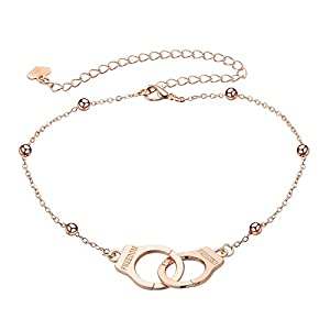 Beydodo Versilbert Damen Fußketten Boho mit Handschellen Strand Fuss Kette Rosegold/Silber