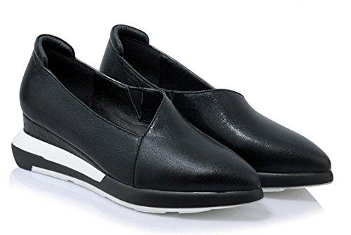 Mme chaussures d'ascenseur de printemps chaussures pointues pente avec des chaussures de plate-forme à fond épais chaussures pour aider à bas chaussures à talons en Black