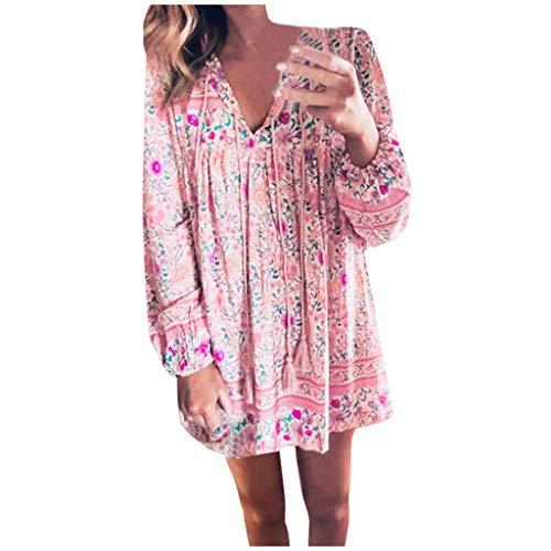 Toasye Damenmode Langarm-Minikleid mit V-Ausschnitt und Fransenriemen Tunika Sommerkleid V-Ausschnitt Blumenkleid Loose T-Shirt Kleid Floral Minikleid