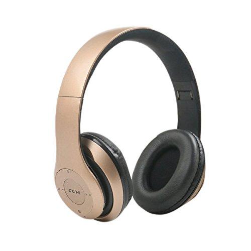 Bluetooth Kopfhörer,SUAVER 4 in 1 Wireless headset Faltbar Stereo Headset Handsfree Musik Kopfhörer mit Mikrofon, unterstützt FM Radio/TF/AUX für PC TV SMART Handys und Tablets (Gold) Hands Free-kopfhörer