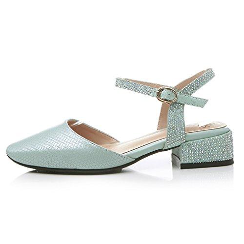 ENMAYER Womens Kuh-Leder überstreifen Schnall Quadratische Zehe Schuhe Für Blockabsatzs Sommer Beiläufig ModeSandals Grau Blau