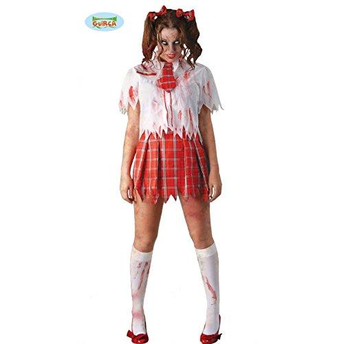 Schulmädchen Zombie Halloween Kostüm für Damen Blutige Studentin Schülerin S-M, Größe:M