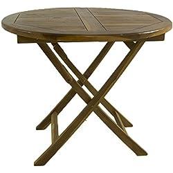 Mesa de jardín Teca Redonda de 90 cm | Madera Teca Grado A | Tamaño: 90x76 cm | Tratamiento al Agua aplicado | Portes Gratis