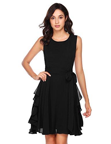 Zeela Damen Elegantes Chiffon Kleid Asymmetrisches Festliches Brautjungfernkleid Abendkleid...
