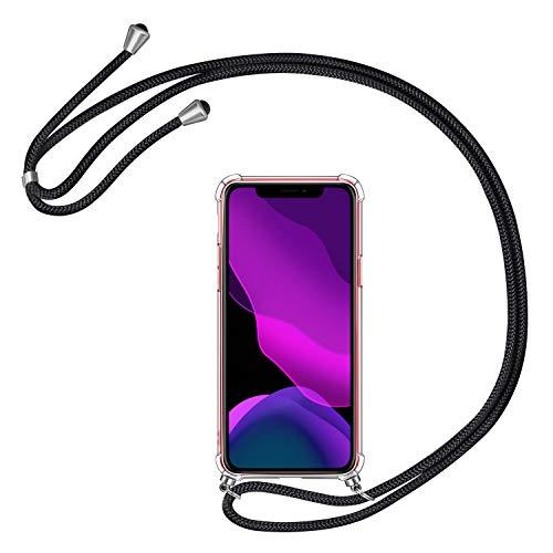 AROYI Handykette Handyhülle für iPhone 11 Hülle mit Kordel zum Umhängen Necklace Hülle mit Band Schutzhülle Transparent Silikon Acryl Case mit extra Fallschutz Stoßdämpfer für iPhone 11 6.1 2019
