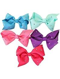 Frcolor Lazos de Lazo de aleación para el Pelo Clip Lazo Horquilla Clip para bebé niñas 5 Piezas (Color al Azar)