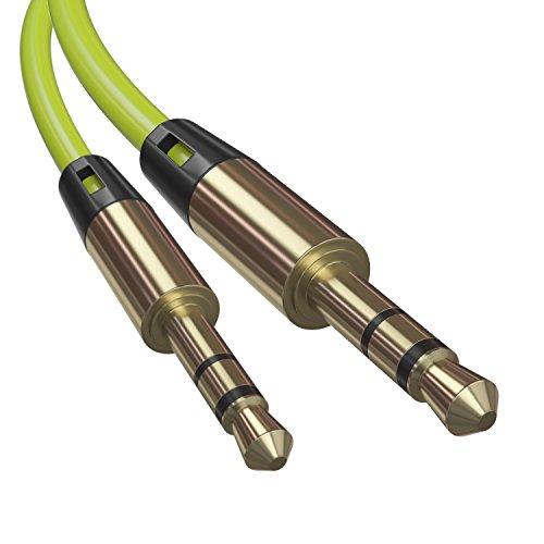AUX Kabel 3,5 mm Stereo Audio Stecker Auto Kopfhörer MP3 Laptop Handy LetiStore - Rund Neon Grün