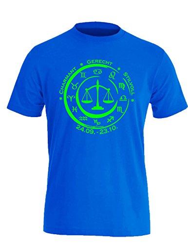 Sternzeichen Waage - Astrologie - Herren Rundhals T-Shirt Royal/Neongruen