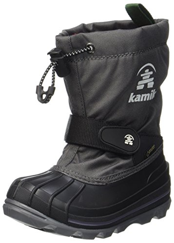 Kamik Unisex-Kinder Schneestiefel WATERBUG8G, Grau (Charcoal/Red-Charbon/Rouge Ch2), 33/34 EU  (2 US)