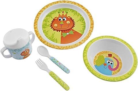 Bieco 04005290 - Kinder Ess - Set Zoo 5 teilig, Teller, Schale, Schnabelbecher, Gabel und Löffel