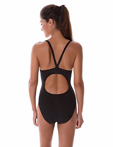 SYROKAN Damen Einteiler Sports Badeanzug - Endurance Bademode Schwimmanzug Schwarz