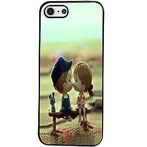 Casotec Love Couples Pattern Design 2D Hard Back Case Cover for Apple iPhone 5 / 5S - Black