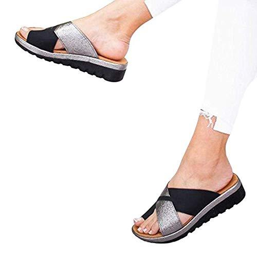 TLDx Women Comfy Platform Sandalo Viaggio Spiaggia Scarpe Estate Alluce valgo Scarpe Viaggio Borsite Pantofole per Alluce Correttore,B,42