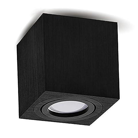 Aufbauleuchte Deckenleuchte Aufputz LED MILANO GU10 Fassung 230V [eckig, alu-schwarz, schwenkbar] Deckenleuchte Strahler Deckenlampe Würfelleuchte Cube Kronleuchter aus Aluminium gebürstet Spot OHNE