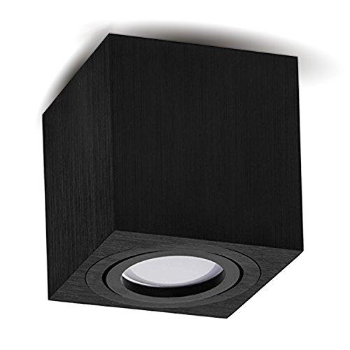 JVS Aufbauleuchte Aufbaustrahler Deckenleuchte Aufputz Led Milano GU10 Fassung 230V eckig alu-schwarz schwenkbar Deckenleuchte Strahler Deckenlampe Aufbau-lampe CUBE Downlight aus Aluminium