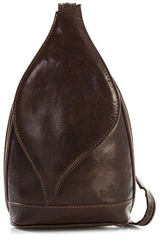 Petit sac à main 2 en 1 porté épaule transformable en sac à dos en autentique cuir italien - Ouverture magnétique type feuille - 'Kim' par LiaTalia(Marron foncé)