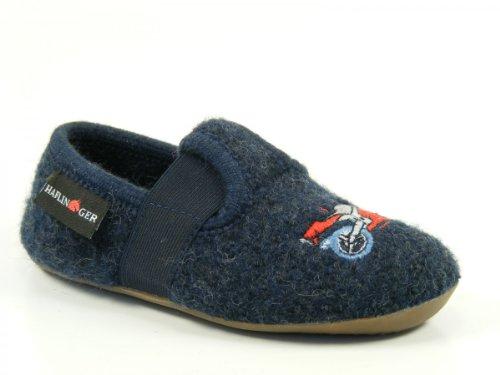 Haflinger Schuhe Kinder Hausschuhe Hüttenschuhe Wolle Everest Crossy 484007 Blau
