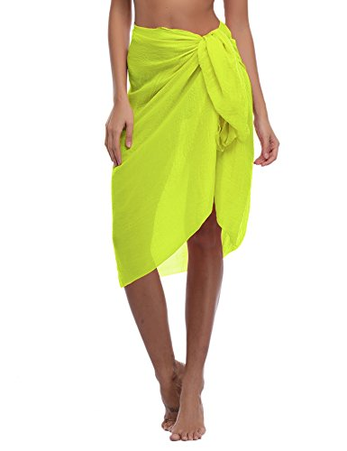 iClosam Damen Strandkleid bikini cover up 2018 Sommer Bikini kleid damen Pareos & Strandkleider,Multifunktional,Durchsichtig (Gelb, One Size)