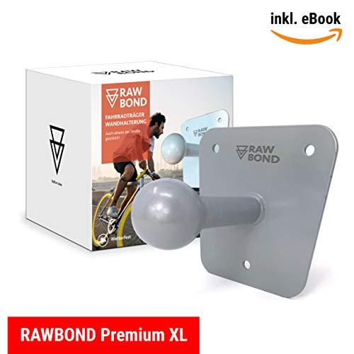 Rawbond Wandhalter für Fahrradträger | Inkl. Schrauben, U-Scheibe & Dübelsatz | Extra Langer Wandhalterung für deinen Fahrradheckträger | Halterung mit Gratis eBook (Grau)