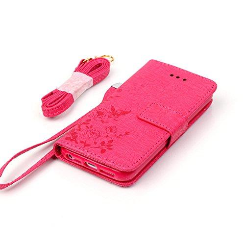 Cover iphone 5S, Cover iphone 5S, Alfort Cover Protettiva Premium PU di alta qualità Flip Case Cover per Apple iphone 5S 4.0 Smartphone Cover di Cuoio Flip Stand Ci sono funzioni di supporto e portaf Red Rose