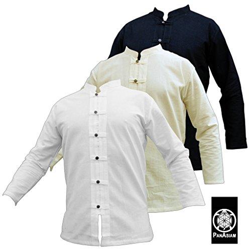 PANASIAM Fisherman Hemd, in 3 Farbtönen, in 4 Größen: M, L, XL, XXL & XXXL, Aus 100% Feiner natürlicher Baumwolle, mit Holzknopfleiste, in Guter Qualität langarm in schwarz