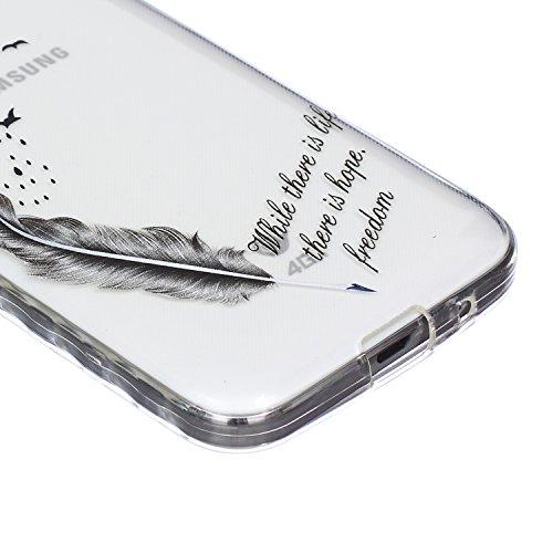 Custodia Cover per iPhone 5S Silicone,TOCASO Case for iPhone 5 5S Soft Case Transparent Gel Skin Bumper Chiaro Cristallo Slim Silicone Caso Modello Bianco Piuma Uccello Freedom di TPU Trasparente Sott Crystal Cover,#36