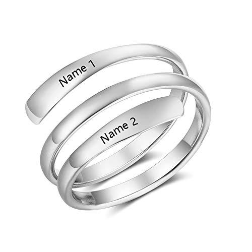 XiXi Mutter Tochter Ring mit 2 Namen Gravur BFF Ringe Offen für Damen Edelstahl Einstellbar Silber Ring Personalisierter Schmuck Geschenk für Geburtstag Valentine Jahrestag